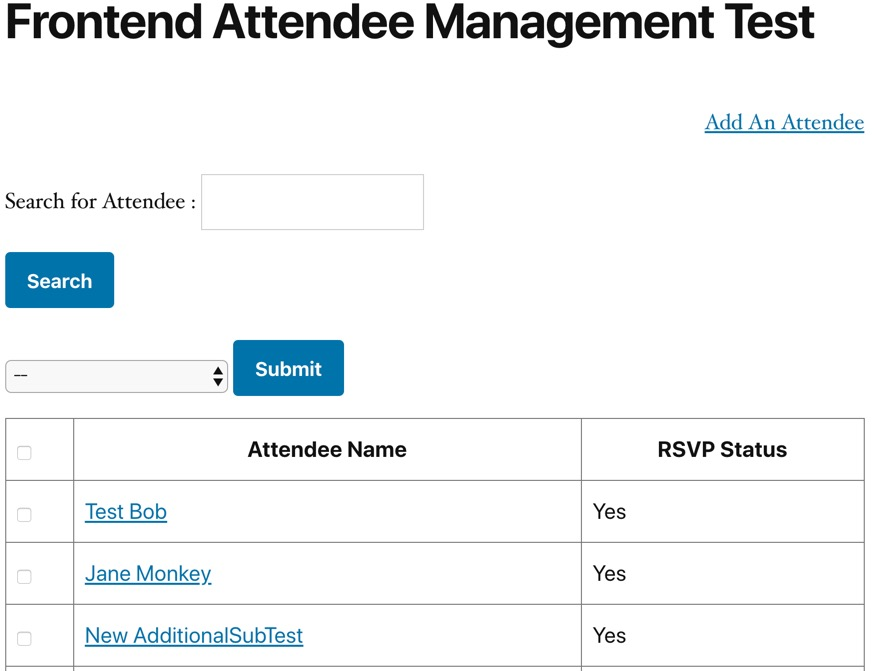 Example front-end attendee management area
